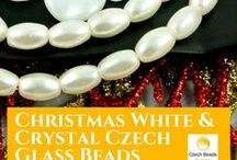 White And Crystal Czech Glass Beads / White And Crystal Czech Glass Beads