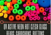 UV Active Neon Hot Czech Glass Beads, Cabochons, Buttons / UV Active Neon Hot Czech Glass Beads, Cabochons, Buttons