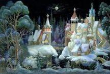 Russische Lackkunst - Lackminiaturen / Handwerkskunst - dekorative Schachteln und Dosen mit kunstvollen Miniaturbildern bemalt. Die Bildmotive waren oft Szenen aus russischen Volksmärchen.