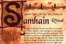 Pagan Holidays - Samhain / October 31 - aka All Hallow's Eve, Halloween, All Soul's Day. The final harvest and end of summer. The souls of the dead were also thought to revisit their homes. Samhain was seen as a liminal time, when spirits or fairies (the aos sí) could more easily come into our world. Symbols of Samhain are apples, pomegranates, root vegetables, gourds, pumpkins, leaves, nuts, bonfires, feasts, crows, hobby horses, playing pranks, soul cakes, jack-o-lanterns, turnips / by Kat Woodfill Childress