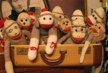 sock monkeys / old school sock monkeys all dressed up  / by paula knee