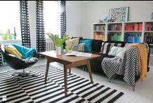 MY SCANDINAVIAN LIVINROOM/ Nasz pokój dzienny / black & white, scandinavian design, livingroom, pillows, patchwork, decoration, diy/ biało-czarny wystrój, styl skandynawski, pokój dzienny, salon, poduszki, dekoracje, stare meble, lampa z gałęzi