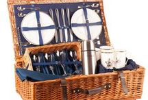 The Ascot Picnic Hamper - luxury at it's best! / The luxury Ascot Picnic Hamper, perfect for Ladies Day.  The Ascot is the picnic hamper for those who love understated luxury. Traditional colours set off the gold edged English bone china and those crystal wine glasses. Insulated food box covers ensure the smoked salmon will be perfect however late you dine.  Available in Oxford Blue or British Racing Green in 2 and 4 person place settings. Buy online at www.amberleyhampers.com