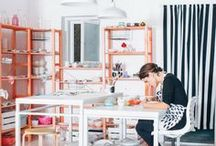 Workspace Inspiration / Get inspired seeing beautiful workshops, studios and workspaces that can be beautiful and functional. We love seeing the places where makers make!  #crafter #handmadebusiness #handmadeartist #entrepreneur #smallbusiness #workspace