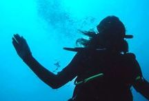 Silhouette underwater / Only BLACK and BLUE to show in deep of mind