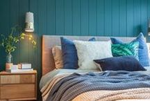Bec Duoros - Guest Bedroom Inspo. / A striking emerald palette teamed with natural accents, hints of botanical motifs, subtle layers of texture and simple graphical prints.