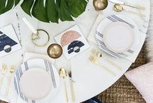 Table Top Styling / Inspiration and ideas for styling table tops perfect for dinner and lunch parties!