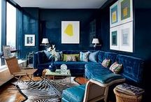 Lacquered walls - so glam! / I always love lacquered walls, as they bring instant shine to a room.  Here is a collection of my favorites.