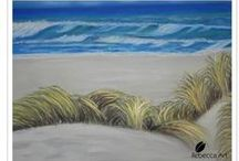 My works / Rebecca Art Paintings Acrylic watercolour charcoal beach dunes Lomond clew bay