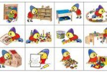 Dagritmekaarten e.a. picto's / Dagritmekaarten en pictogrammen voor in de klas