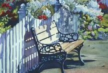 Garden and park benches / paintings