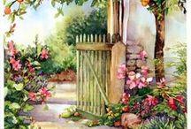 Garden gates and fences art / art/paintings