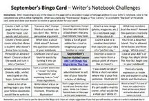 Bingo Card-inspired Notebook Entries / In the center square of our 10 different Writer's Notebook Bingo Cards (https://www.teacherspayteachers.com/Product/Full-Set-Writers-Notebook-Bingo-Cards-2228372) there is a Common Core-inspired lesson that promotes deep thinking and/or writing across the curriculum.  Here are some awesome examples from my students' amazing notebooks!
