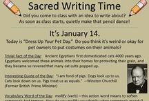 """Sacred Writing Time Slides!  (Here are nine of my favorite slides from our SWT set) / Dena and I created nine-and-a-half months' worth of daily PowerPoint slides to inspire writing from our students who came to class """"idea-less."""" Our kids now """"freak out"""" if they walk in and the daily slide isn't displayed. We sell this set from our website to be able to keep our website free-to-use and advertisement-less.  Here are some of our favorite slides from the set!  If you wish to order and support our site, here is the link:  http://corbettharrison.com/products.html#SWT"""