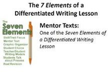 "7 Elements of a Differentiated Writing Lesson / These are links to the lessons and materials I use when I perform my ""Seven Elements of a Differentiated Writing Lesson"" teacher workshops.  I designed the Powerpoints to be ""self-paced"" for a goal-setting, motivated teacher or trainer who can't attend one of my workshops in person."