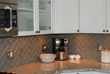 Glass Backsplash Designs / Backsplash designs using beautiful glass mosaics, tile, linear shapes, and more.