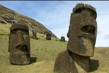 """Lovely Places - Rapa Nui / """"The famous statues of Easter Island are also supposed to record the real heights of historical giants"""". Mark Booth"""
