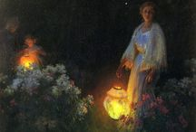 "summer's night / And the perfect afternoon slowly ripened, slowly faded, slowly its petals closed.       ""Never a more delightful garden-party ... ""  Laura helped her mother with the good-byes. They stood side by side in the porch till it was all over.  In the wood, there seemed to be lights of the night's own."