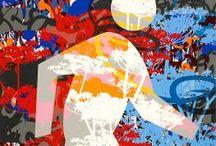 Walk / These paintings were inspired by urban crosswalk signs and Australian Aboriginal paintings.
