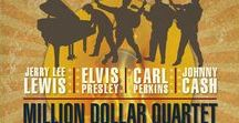 """""""Million Dollar Quartet"""" - 2017 Season - May 31 - June 25, 2017 / Book by Colin Escott and Floyd Mutrux Great Balls of Fire! On December 4, 1956 at Sun Records studio in Memphis, Tennessee, ELVIS PRESLEY, JOHNNY CASH, JERRY LEE LEWIS, and CARL PERKINS met for a once-in-a-lifetime rock 'n' roll jam session.  Get your Blue Suede Shoes ready for this 1950's rockin' sensation!"""