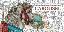 Carousel: a Coloring Jones coloring book for adults. Buy it on Amazon! / Featuring 20 intricate line drawings by Los Angeles artist David Palmer, based on the horses, menagerie animals and design motifs of four classic American merry-go-rounds. Each drawing is on its own single-sided page, and features a center margin so you can color all the way to the edges.  #coloringjones #carousel #adultcoloring #coloringforgrownups #merrygoround #adultcolouring #colouring #coloring
