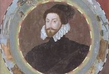 "Christopher Hatton / A board dedicated to Lord Chancellor Christopher Hatton (1540-1591), whom Queen Elizabeth I nicknamed her ""lids"" and her ""sheep""."