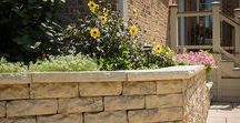 Landscaping Walls - Dimensional Stone / With a consistent size and organic aesthetic, Dimensional Walls complement most any landscaping style. Paired with brick or perched beside cedar, Dimensional Wall is a great option to add some height to your hardscapes. The hand-hewn stone textures made with wetcast concrete are perfect for a traditional garden wall or contemporary outdoor kitchen.