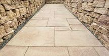 Patio Slabs - Dimensional Flagstone / Dimensional Flagstone patios and walkways tastefully complement your home and greatly enrich your lifestyle. Six different size concrete slabs mimic slate to create an alluring texture and an intricate paver pattern, without creating a busy distractor from the great outdoors.