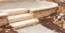 Seat Walls & Caps - Dimensional Coping / A usable seat wall in your garden is as simple as adding a coping layer. The chiseled features of dimensional coping are the perfect match for any Rosetta wall.