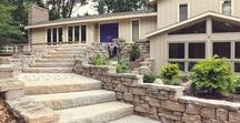 """Home Front Entrance Ideas / They add a heavy dose of curb appeal to these homes and roll out the welcome mat with fashion, function, and even a bit of flare. Who knew walkways, columns, and courtyards could scream, """"Welcome to my home!"""""""