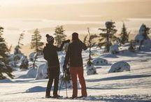Draußen: Im Schnee / Schneeschuhwandern, Rodeln, Eislaufen oder sich gemütlich von Pferden oder Hunden ziehen lassen – es gibt viele Alternativen zum traditionellen Skifahren.
