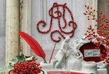 Drinnen: Deko in Rot-Weiß / Rot und Weiß, Zimmerpflanzen, Wohnungsdekoration, Geschenkideen, Adventszeit, festlicher Schmuck, Amaryllis, Hortensien, Hagebutten, Hyazinthen, Beerenschmuck, Kränze, Tannengrün, Tischschmuck, Adventskalender, Frühlingsblüher, Zwiebelpflanzen, Christrose