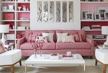 Tickled Pink / Pink can be feminine, eclectic, pretty, modern ... even vintage. We love it in the home and on the wall!
