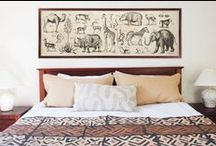 Wildest Dreams / Here's to your wild side!  From Kuba-inspired prints on bedding and pillows to animal-themed art, patterns and dinnerware, you can easily turn any room into a magical safari getaway. Rooms featuring this look feel well-traveled and curated with a deep sense of history and slight masculine vibe. Try animal prints, leather and art (and don't forget the abstracts!) to turn an ordinary room into a space that shows off your wildest dreams!