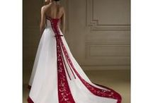 Wedding Dresses with Red Trim / I think plain white wedding dresses are boring. I like a little colour - but not too much. A dash of red sets the wedding dress off perfectly. Red of course is my favourite colour.