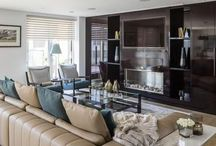 Interiors / Woodlikes design create a free standing bespoke piece created for a high-end property. The unit incorporates display shelves, TV frame and a fireplace. Different finishes available on request, including variation in size to fit into your space.