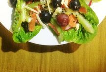 Me cooking/ foodie inspirations / Cos lettuce with black + red grapes salad in miso-sesame dressing