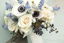 Wedding Flowers / January, seasonal flowers, purple, green, white, pussywillows, pine cones