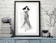 fashion dress scketch / Fashion sketch, Fashion girl sketch, Girl sketch, Fashion wall art, red, wall art, Vogue wall art, Fashion illustration print, woman sketch