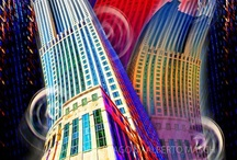 """Giants of Chicago / The photographic digital artwork I am presenting is called """"Giants of Chicago.""""  It is framed by my interest in capturing the life behind the facades of the Chicago skyscrapers and the interaction with their surroundings."""