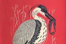 Illustration Art - Birds 4 / Birds in linocut prints, woodcut prints, stonecut prints, stamps