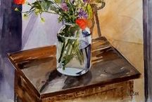 Original Watercolor Paintings For Sale - Still Life / Right now there are a lot of flowers blooming all over the place.  My Spring activity is painting flowers in my favorite vases or bottles. victoriaangelesolson@hotmail.com