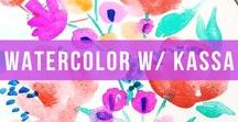 Watercolor w/ Kassa / Watercoloring is for everyone. And our new Kassa Watercolor Set is perfect for all your brush painting and lettering ambitions, whether you're advanced or a beginner. Complete with 3 paint brushes (small, medium and large), 21 non-toxic colors and a self-squeeze, leak-proof water barrel, your creativity will soar.