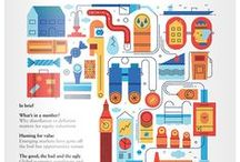 Infographics / The use of typography, iconography and images to create interesting and informative artworks.