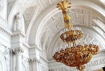 Classical interior inspirations / Beauty ceilings and chandeliers