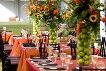 Fall:  In Love / Our love for Fall nuptials blossomed all over again when our bride asked us to plan, design and cater her Autumn themed wedding.  Rich with warm amber hues and remnants of the season's harvest, this wedding made us fall in love.