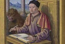 Iluminacje: skryba / Czynność pisania w średniowiecznej miniaturze.