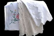 Vintage Linen For Events Hire / A selection of Tablecloths large and small, embroidered or lace. Beautifully starched table napkins in various sizes to suit the occasion.  Doilies, some crochet, tattered or embroidered, some old some new. I'm sure there is something there for you!.