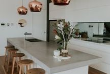 ❈ Kitchen ❈ / Ideas with corian benches, wood, sliding cupboard doors and made to order tables on wheels