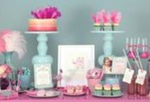 Flamingo High Tea / A delectable table full of ombré cakes, feathers and dreamy treats